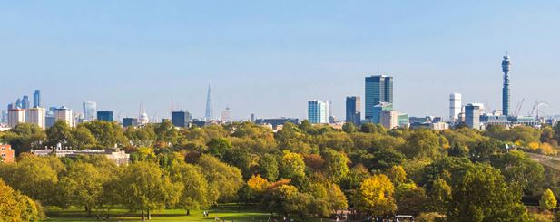 View Over Central London from Primrose Hill, London Borough of Camsden